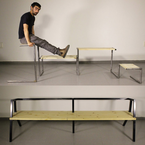 יש מקום לכוווולם. למעלה: ספסל צינור מכופף, למטה: ספסל ארוך