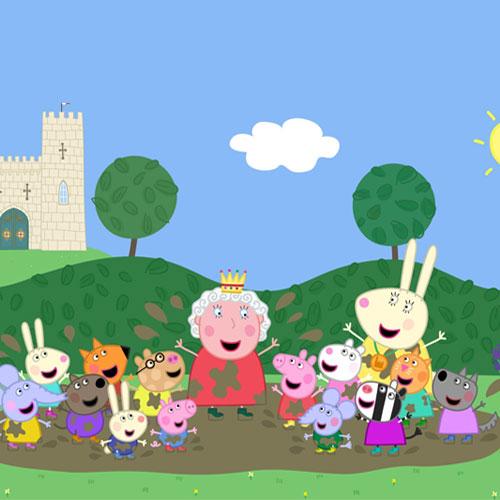 אפילו המלכה אוהבת לקפוץ בשלוליות בוץ. מתוך PEPPA PIG