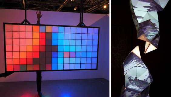 """עבודת ניירת פורצת דרך. מימין: """"תוהו ובוהו"""", הראל בן נון ותומר אשכנזי (צילום: הדר סייפן); משמאל: קיר האורות של אירה רזניק וטליא ינובר (צילום: טל גליק)"""