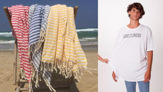 גם לחות זה יוניסקס. חולצת טי של MULI 1969;  מגבות חוף Janumika