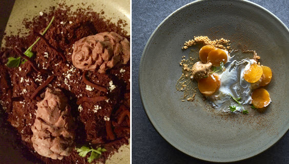 """תמונות נוף. קינוח דלעת; שוקולד """"אצטרובלים"""" ב-MASHYA (צילום ימין: אנטולי מיכאלו)"""