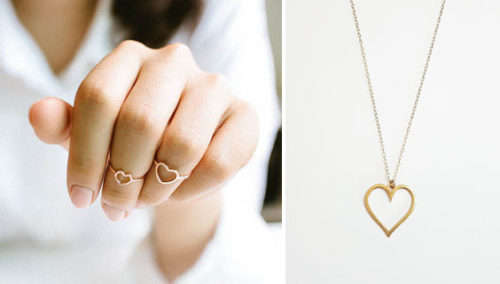 """יש לנו לב זהב. שרשרת לב וטבעות לב; """"ספיר תכשיטים"""""""