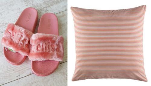 """ערכת אהבה עצמית. כרית פסים אדומים של KAS; נעלי בית של """"מליסה"""""""