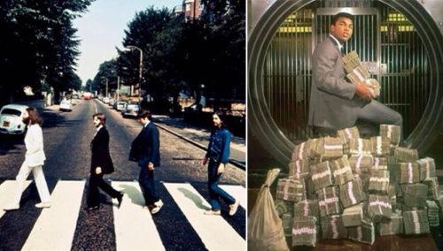 עלי מצולם על כספי זכיותיו; הביטלס חוצים חזרה. מתוך History in Pics
