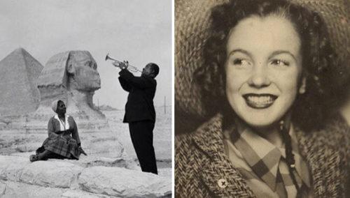 נורמה ג'ין בייקר, לפני שהפכה למרלין מונרו, 1940; ארמסטרונג מנגן לאשתו, מצרים, 1961