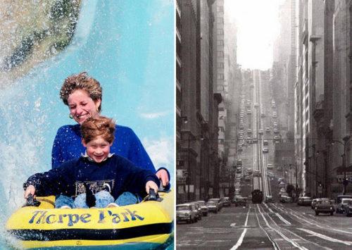 סן פרנסיסקו, 1964; הנסיכה דיאנה ובנה הארי בפארק שעשועים, 1992 (Julian Parker)