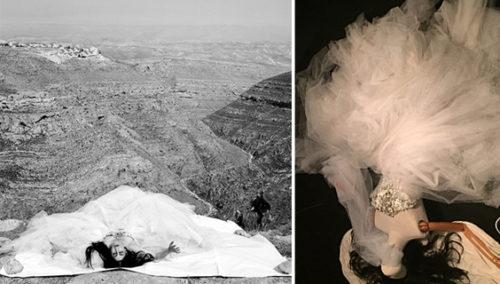 השראה בלתי נגמרת. משמאל: רונית אלקבץ כציון בסרטו של ז'וזף דדון, 2006, בשמלת קוטור כריסטיאן לקרואה (קרדיט תמונה: יוסף ז'וזף דדון); מימין: המחווה בתערוכה
