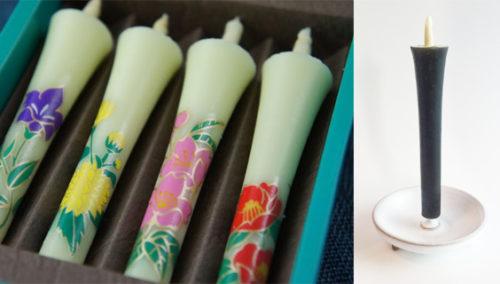 יפה בכל עיצוב. נרות בעיטוף פרחים יפניים מסורתיים