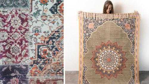 הצילו! התלבטות. מימין: שטיח מנדלה אדמה מ-BADIM TLV; משמאל: שטיח מחנותל'ה