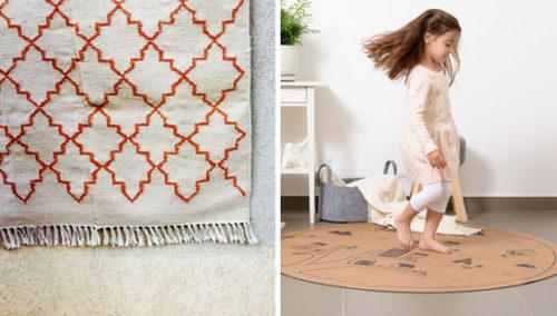 על מה אתם הולכים? מימין: שטיח שעם של בלוט; משמאל: שטיח צמר של Eclectico