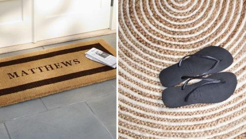 """משתטחים. שטיח ספירלי של הדס שדה; משמאל: שטיח כניסה עם שמכם מ""""המקשט"""""""