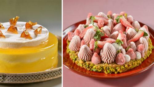לאחרי החמין. עוגת גלידה וסורבה תותים; עוגת גלידת שוקולד לבן פרפה תפוז וקרמל