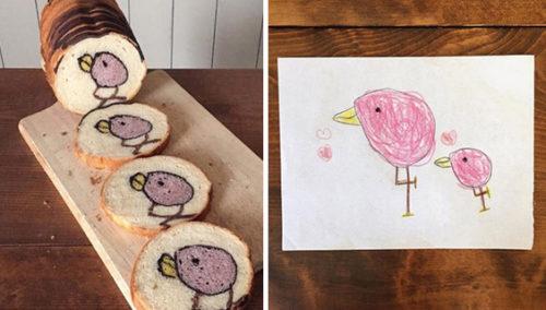 מהדף - לפרוסה. מימין: ציורים של הבן של רן, משמאל: היצירה על הלחם