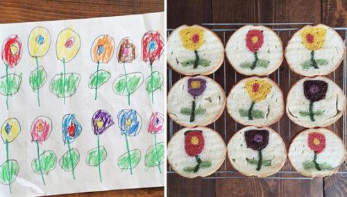 לאכול או למסגר? משמאל: הציורים של הבן, מימין: התוצאה על הלחם