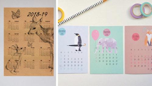 """לוקינג גוד תשע""""ט. מימין: לוחות שנה מאוירים של Didi; פוסטר לוח שנה של Sunnykah"""