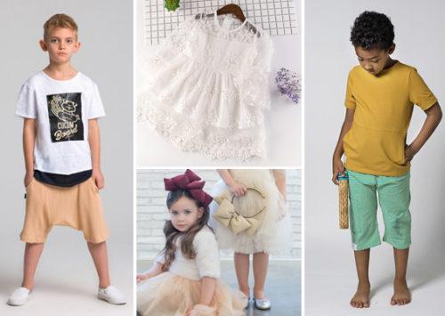"""חמודי, להתרחק מהרוטב הסגול. עוד רעיונות לילדים באוסף (מימין ובכיוון השעון: חולצה ומכנסי """"אנמנה""""; קשת פוף של NANA H; מכנסי שק של יומסטר; שמלת תחרה מ""""צ'יקיטס"""")"""