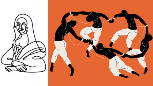 """לעשות בפיקאסו כבשלו. מתוך Art:Remix של חן מכבי, מימין:""""הארלם שיק""""; """"מונה שלי"""""""