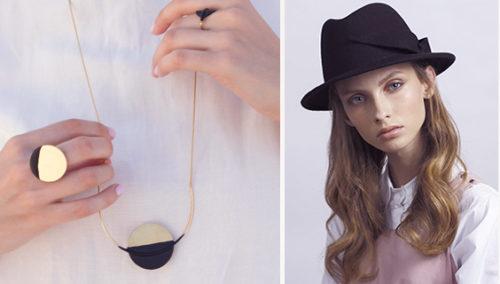 שחור זה השווה החדש. תכשיטי ירח של SIGMA; כובע לבד פדורה של JUSTINE