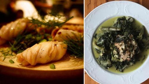 באהבה מתנור העץ. מימין: תבשיל ארטישוק צלוי, חובזה, עולש, פול ושום ירוק; משמאל:  קלאמרי צלוי, חובזה, גרגרי חומוס ועלי שומר; Abie