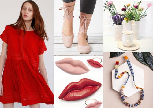 """בשבילה. מימין בכיוון השעון: כלים של עירית דינור; שרשרת של """"מירמבה""""; תכשיטי שפתיים של """"סטודיו פיצ'י"""", שמלות סולמות איקונית של NAFTUL, נעלי בלרינה של תמר שלם"""