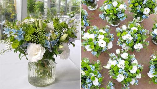 התאמה מושלמת לכל אירוע. סידורי פרחי טווידה תכולים לבר מצווה