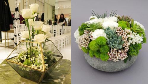 הטאץ' האחר. שילוב סוקולנטים ופרחים; עיצוב פרחים להשקת חנות בוטיק גדולה