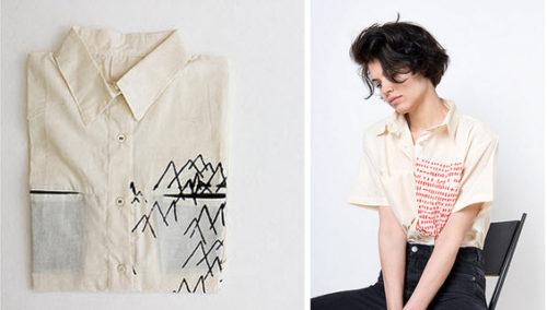 אשת הרשת. חולצות בהדפסי רשת ידניים, מעין גוטפלד (צילומים: איה וינד)