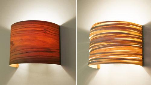 ויהי ערב. מנורות קריאה צמודות קיר במגוון סוגי עצים (צילומים: בנג'י כהן)