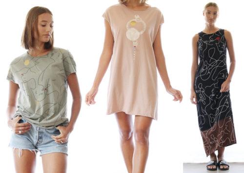 נשיקת קיץ ראשונה. הדפסים ואיורים מקוריים על חולצות ושמלות קלילות, של גלה דרין