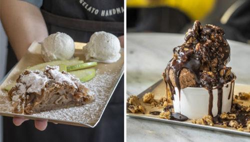אסטרו-אוסטרו. שוקולד-עוגיות; גלידת ועוגת שטרודל תפוחים (צילום שמאל: אנטולי מיכאלו)