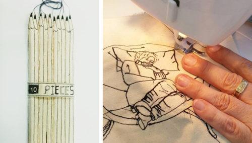 ג'אסט דו איט. מימין: העבודה שהחלה הכל, מרב תופרת איור עצמי; וחבילת עפרונות