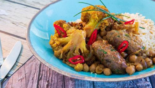 מפתול - קוסקוס עם תבשיל גרגירי חומוס, כרובית וקציצות חלבון אפונהצילום: תדי הרשקוביץ
