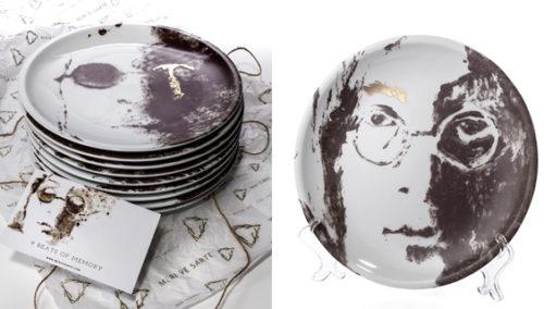 דמיינו. צלחות מסדרת ג'ון לנון, עם זהב 24K, של  MERI VE SARTE