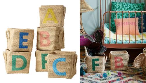#4 ארגזי איחסון קלועים עם האותיות A-F, מהחנות SOFI (עוד אותיות כאן)