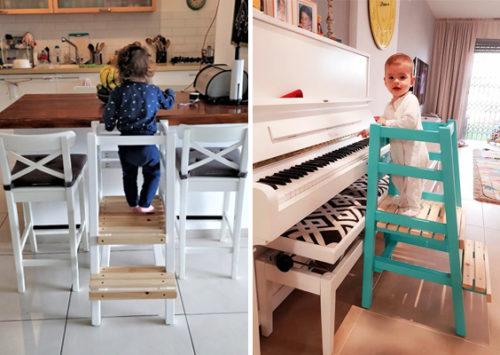 """הבית עולה מדרגה. מגדל למידה, שיכול לשמש גם כסא-שולחן, """"הופ'עלה"""""""