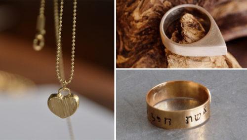 מלמעלה מימין ובכיוון השעון: טבעת טיפה כסף, SEA U; טבעת רקועה, ענת ונטורה; שרשרת לב, אפרת מקוב