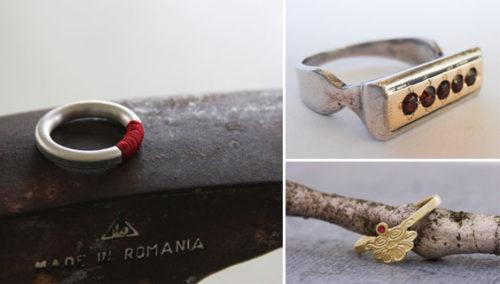 נקודה אדומה. טבעת אבני גרנט, YASMINA; טבעת רובי, אורית סוסנר; טבעת כסף-בטון-חוט אדום, הדס שחם