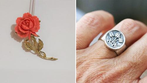 """העיקר זה הרומנטיקה. טבעת טוליפים, Works&craft; סיכת שושנה בשילוב אמייל, """"היו היה וזה מה שישי"""""""