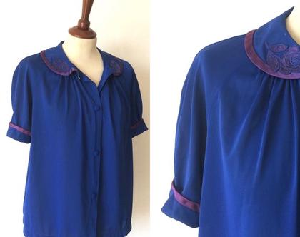 חולצת וינטג' חולצה כחולה חולצה מכופתרת חולצות