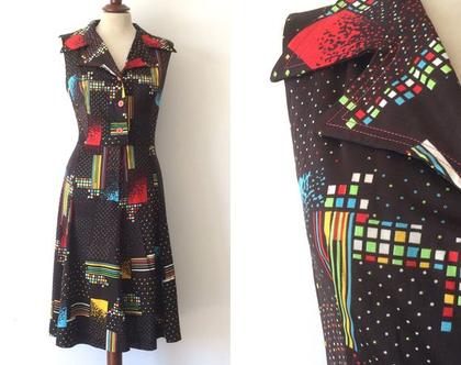 שמלת וינטג׳ שמלה לנשים שמלת מידי שמלה חומה שמלות