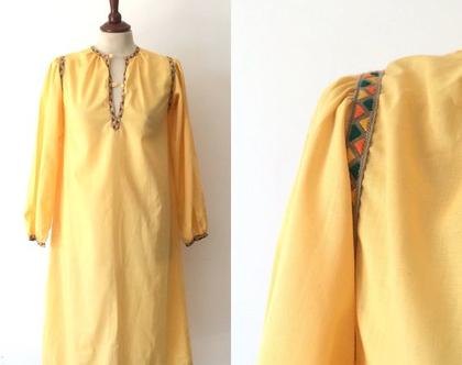 שמלת ג'לבייה גלבייה צהובה גלבייה משנות ה-70 גלביות