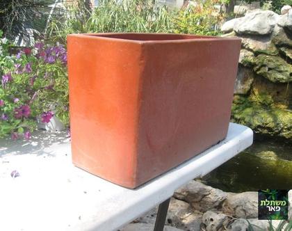 אדנית גלזורה מלבנית חומה לשתילת צמחים