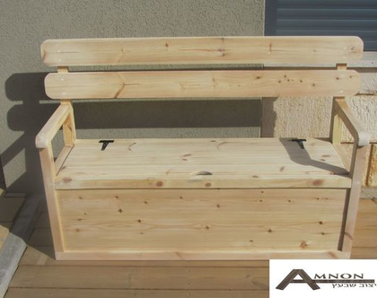 ספסל אחסון מעץ אורן