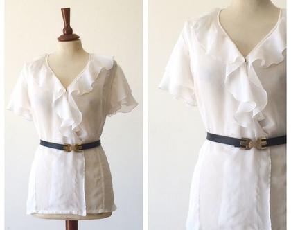 חולצה לבנה לנשים חולצת וינטג' חולצות דקות חולצה חגיגית חולצות