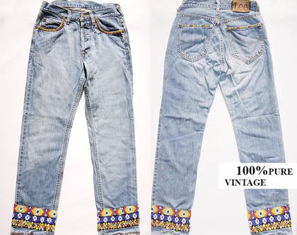 מכנס ג'ינס LEE בוהו שיק 30% הנחה | מכנס ג'ינס לי | ג'ינס משופשף וינטג' מידה 37 | מכנס ג'ינס מעוטר חרוזים בעבודת יד