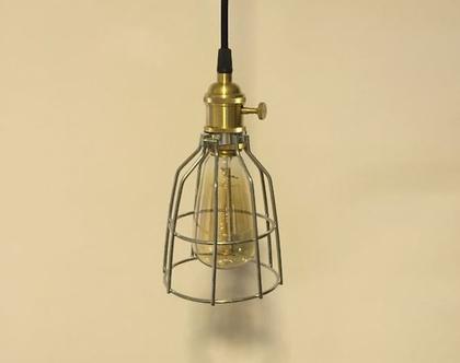 מנורת כלוב מתכת תלויה בסגנון וינטאג' תעשייתי (מס 40 )