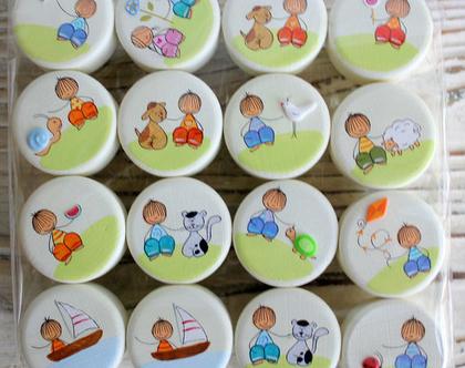 ידיות לארון בחדר ילדים - שידת החתלה - סט של 16 ידיות עגולות - משלוח חינם!