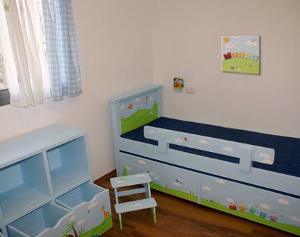 חדר ילדים מעוצב בהתאמה אישית! - מיטה - כוורת - שרפרף - תמונה