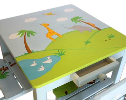 שולחן וכסאות איכותיים לחדר הילדים - ספארי - ג'ירף פיל תוכי קוף זיקית ברווזים באגם