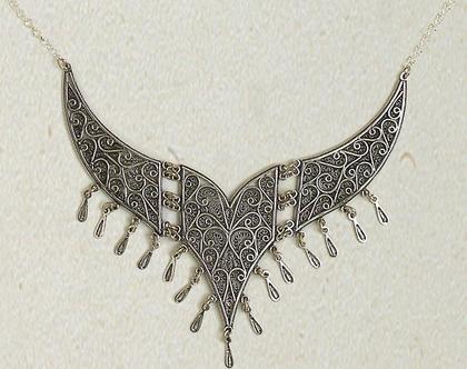 שרשרת מכסף טהור, שרשרת בעיצוב פיליגרן, רביד מכסף טהור, ענק לצואר, שרשרת מעצבים, Sterling silver necklace